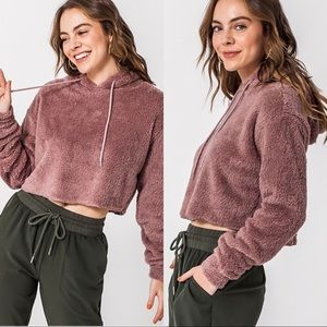 Long Sleeve Hooded Plush Cropped Top